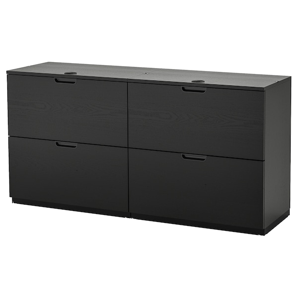 """GALANT Storage combination with filing, black stained ash veneer, 63x31 1/2 """""""