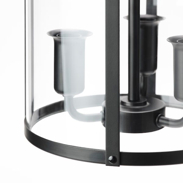 "GALJON Pendant lamp, black/transparent glass, 10 """