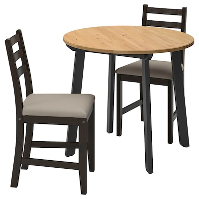 GAMLARED / LERHAMN table and 2 chairs light antique stain black-brown/Vittaryd beige