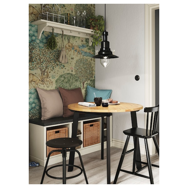 """GAMLARED Table, light antique stain/black stained, 33 1/2 """""""