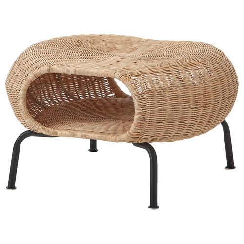 """GAMLEHULT footstool with storage rattan/anthracite 14 1/8 """" 24 3/8 """" 5 1/2 """""""