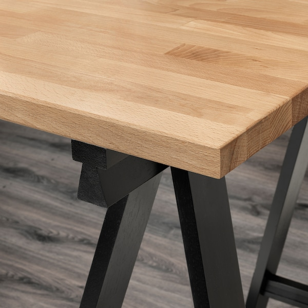 "GERTON Table, beech/black white, 122x29 1/2 """
