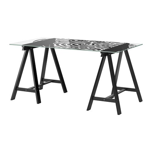 GLASHOLM / ODDVALD Table   The table top in tempered glass is stain resistant and easy to clean.