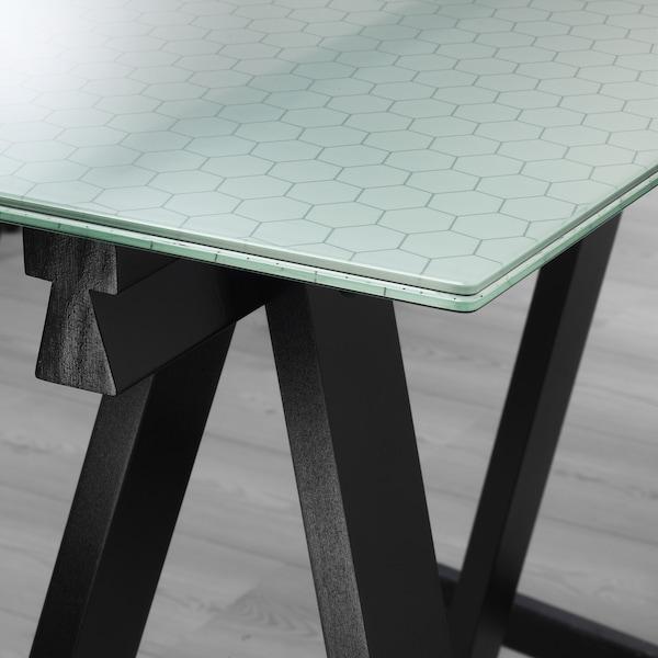"GLASHOLM / ODDVALD Table, glass/honeycomb pattern black, 58 1/4x28 3/4 """