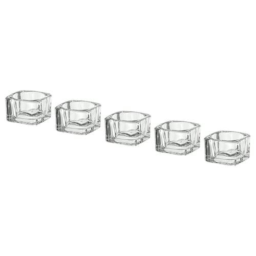 "GLASIG tealight holder clear glass 2 "" 2 "" 1 ½ "" 5 pack"