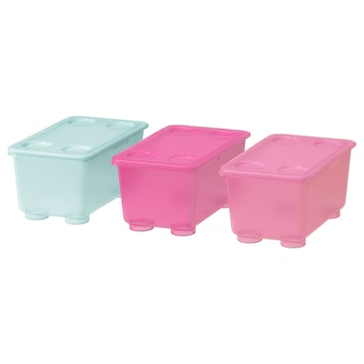 GLIS Box with lid, pink/turquoise, 6 ¾x4 ""