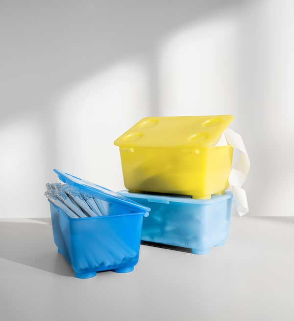 GLIS Box with lid, yellow/blue, 6 ¾x4 ""