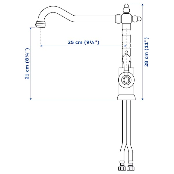 "GLITTRAN kitchen faucet chrome plated 11 """
