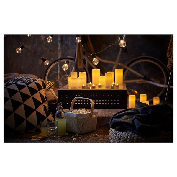 GODAFTON LED block candle in/out, set of 3, battery operated/natural