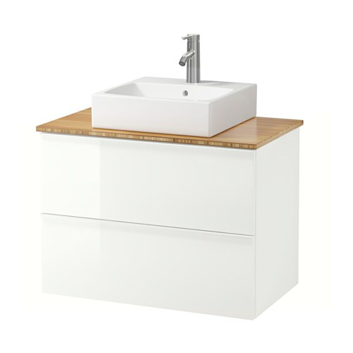 vanity countertop and 17 3 4 sink bamboo high gloss white ikea