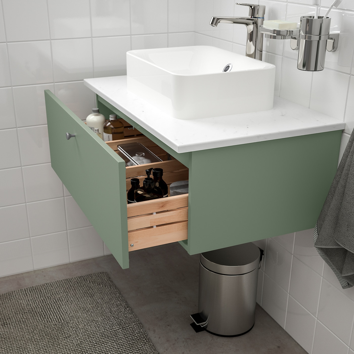 Godmorgon Bath Vanity With 1 Drawer Gillburen Gray Green 311 2x181 2x113 8 80x47x29 Cm Ikea