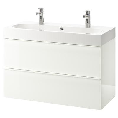 "GODMORGON / BRÅVIKEN bathroom vanity high gloss white/Brogrund faucet 39 3/8 "" 39 3/8 "" 18 7/8 "" 26 3/4 """