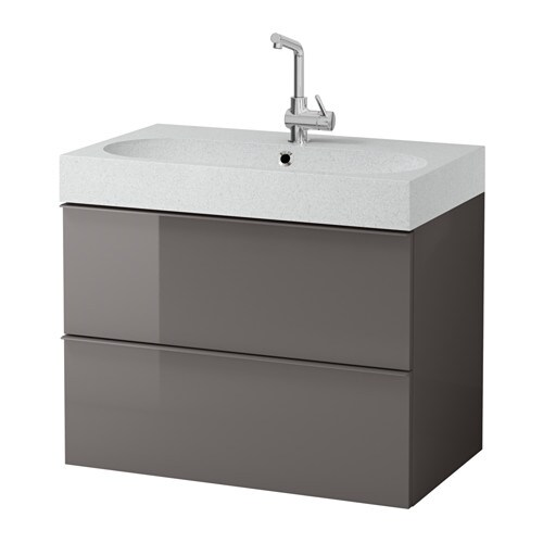 Godmorgon Br Viken Sink Cabinet With 2 Drawers High Gloss Gray Light Gray Ikea