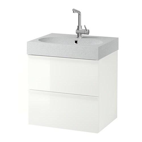 GODMORGON BR VIKEN Sink Cabinet With 2 Drawers High Gloss White Light Gra