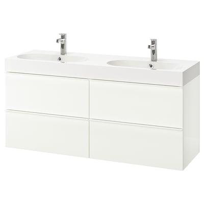 "GODMORGON / BRÅVIKEN bathroom vanity high gloss white/Brogrund faucet 55 1/8 "" 55 1/8 "" 18 7/8 "" 26 3/4 """