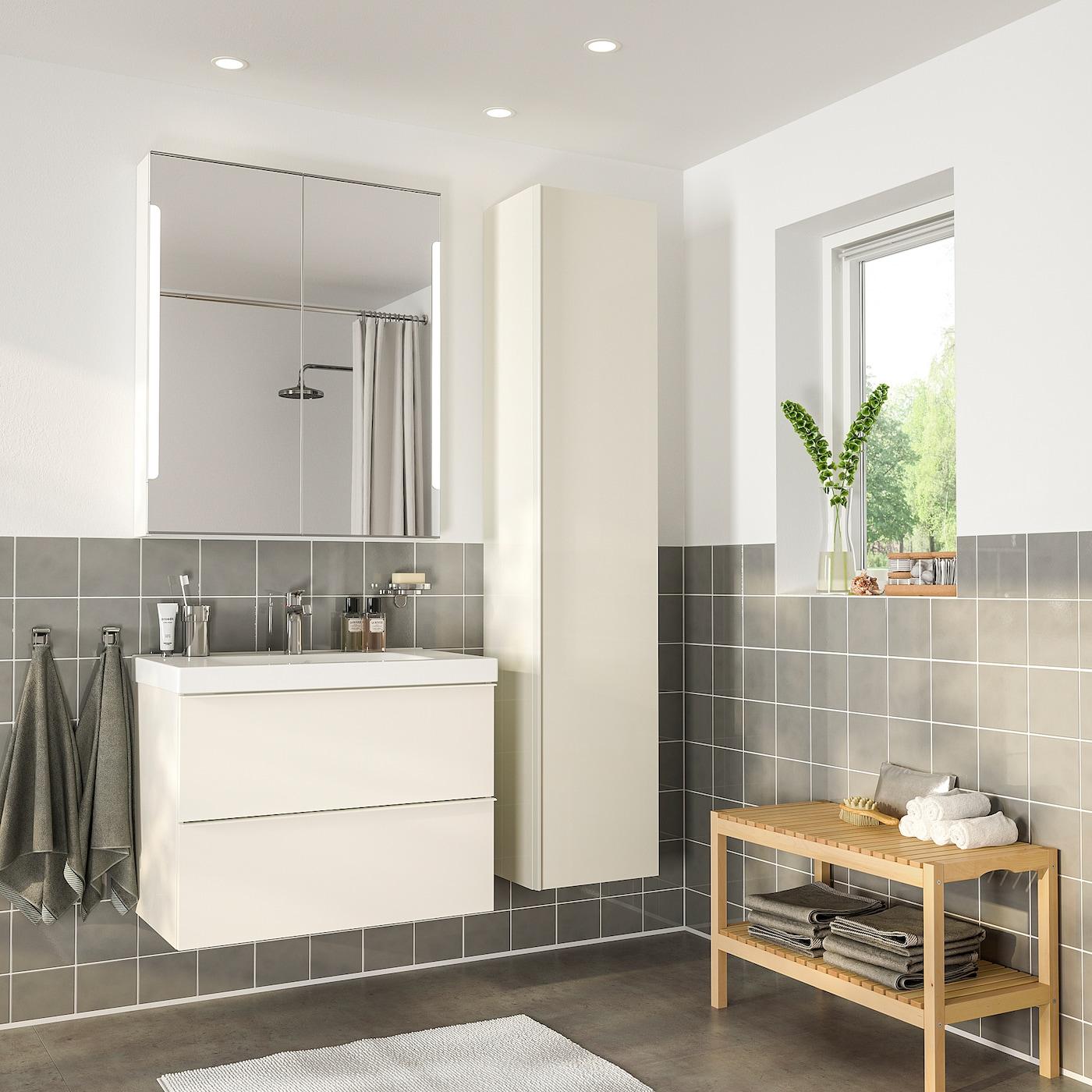 "GODMORGON / ODENSVIK Bathroom furniture, set of 9 - high gloss  white/Brogrund faucet 9 9/9 "" (93 cm)"