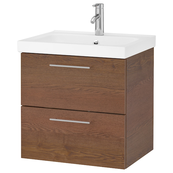 """GODMORGON / ODENSVIK Bathroom vanity, brown stained ash effect/Dalskär faucet, 24 3/4x19 1/4x25 1/4 """""""