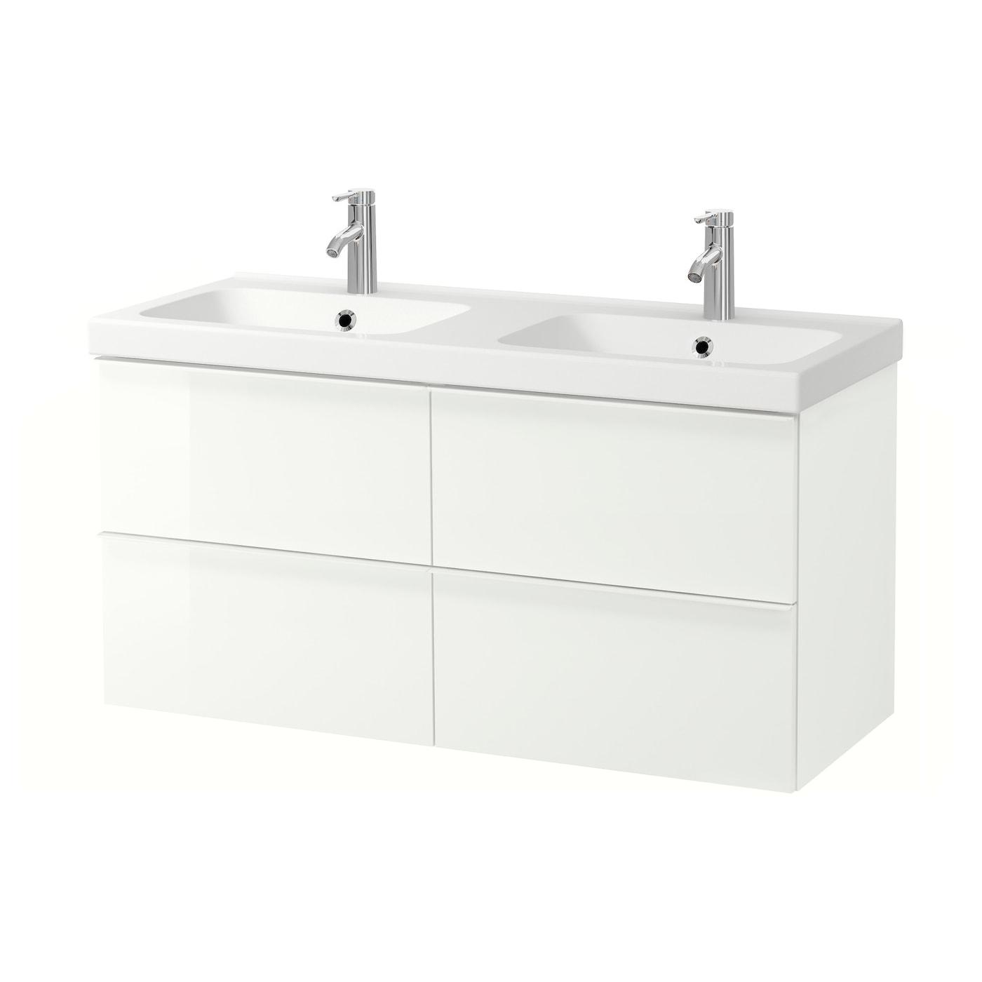 Godmorgon Odensvik Bathroom Vanity High Gloss White Dalskar Faucet 123x49x64 Cm Find It Here Ikea