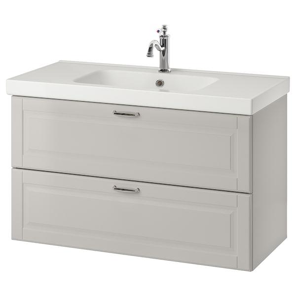 Godmorgon Odensvik Bathroom Vanity Kasjon Light Gray Hamnskar Faucet 103x49x64 Cm Shop Here Ikea