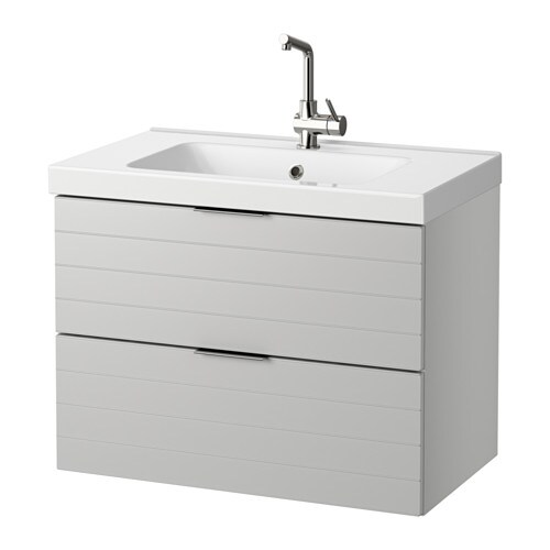 GODMORGON / ODENSVIK Sink cabinet with 2 drawers - walnut effect ...