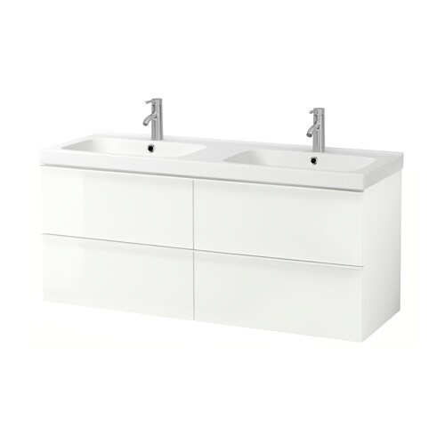 Godmorgon odensvik sink cabinet with 4 drawers high for Meuble blanc ikea
