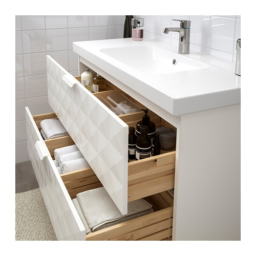 GODMORGON / ODENSVIK Sink cabinet with 2 drawers - walnut effect - IKEA