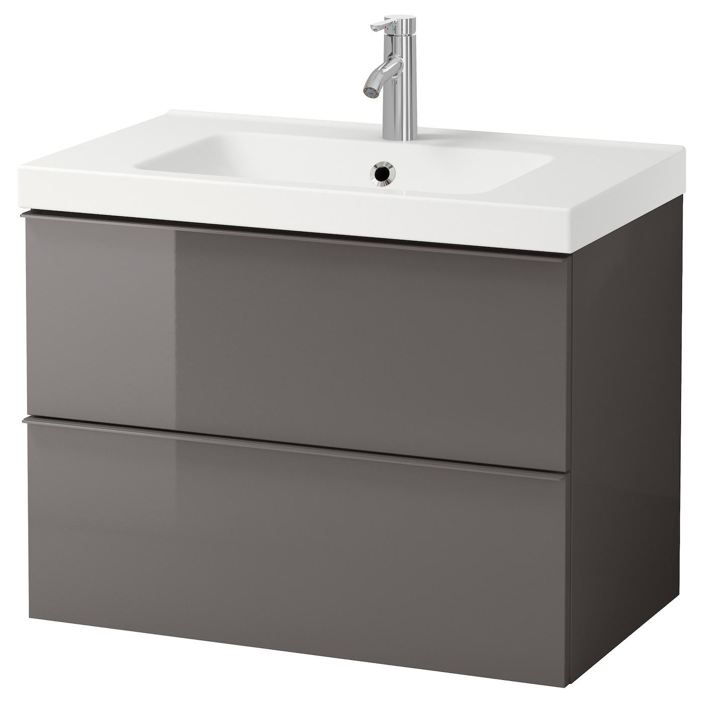 "GODMORGON / ODENSVIK Bathroom vanity - high gloss gray/Dalskär faucet 22  22/22x22 22/22x222 22/22 "" (223x229x622 cm)"