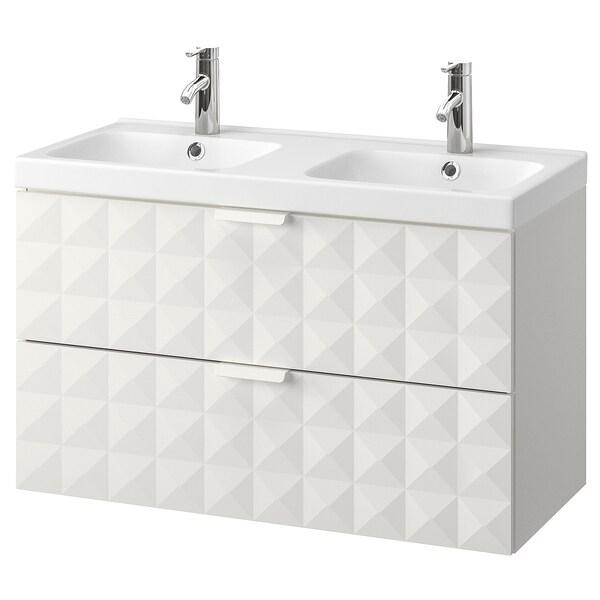 GODMORGON / ODENSVIK Bathroom vanity, Resjön white, Dalskär faucet