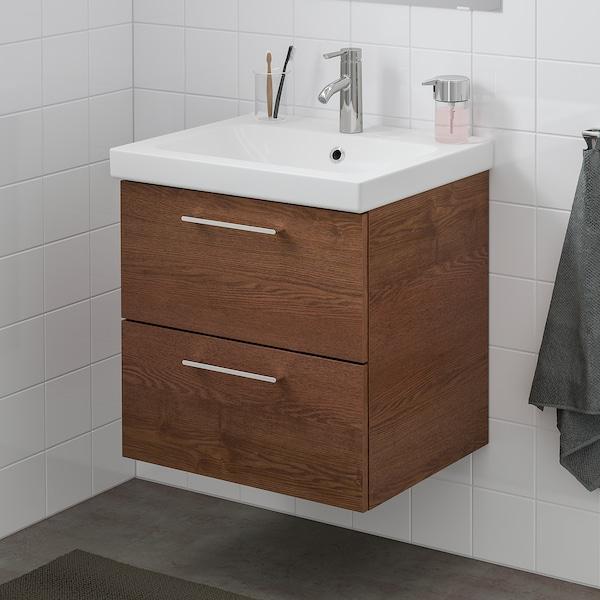 "GODMORGON / ODENSVIK bathroom vanity brown stained ash effect/Dalskär faucet 24 3/4 "" 23 5/8 "" 19 1/4 "" 25 1/4 """
