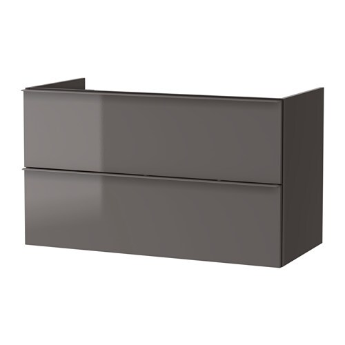 GODMORGON Sink cabinet with 2 drawers - black-brown, 100x47x58 cm ...
