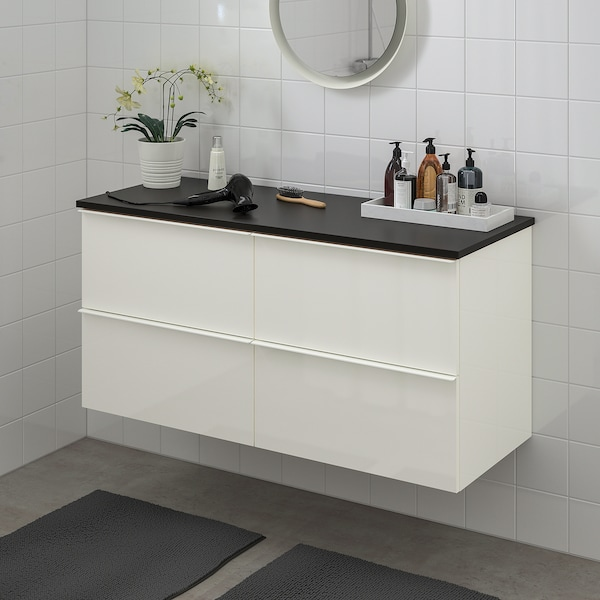 GODMORGON / TOLKEN Bathroom vanity, high gloss white/anthracite, 48x19 1/4x23 5/8 ""