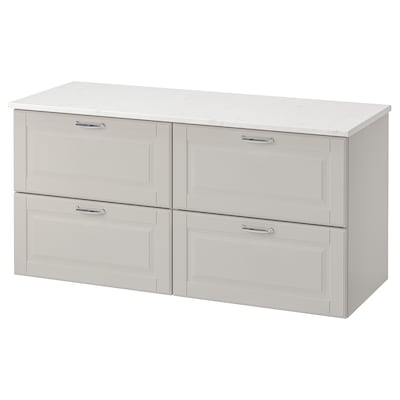 "GODMORGON / TOLKEN bathroom vanity Kasjön light gray/marble effect 48 "" 19 1/4 "" 23 5/8 """