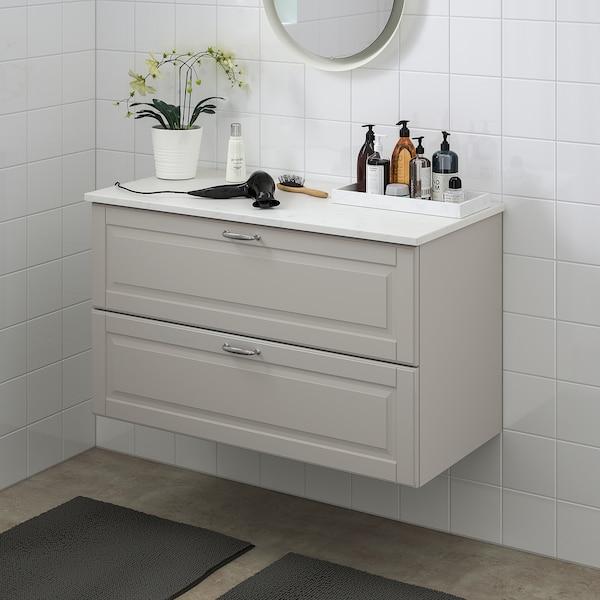 "GODMORGON / TOLKEN Bathroom vanity, Kasjön light gray/marble effect, 40 1/8x19 1/4x23 5/8 """