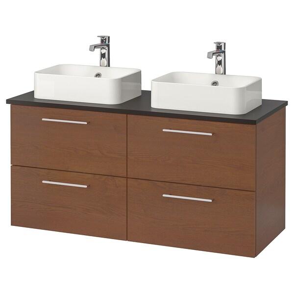"GODMORGON/TOLKEN / HÖRVIK Bathroom vanity, brown stained ash effect/anthracite Brogrund faucet, 48x19 1/4x28 3/8 """