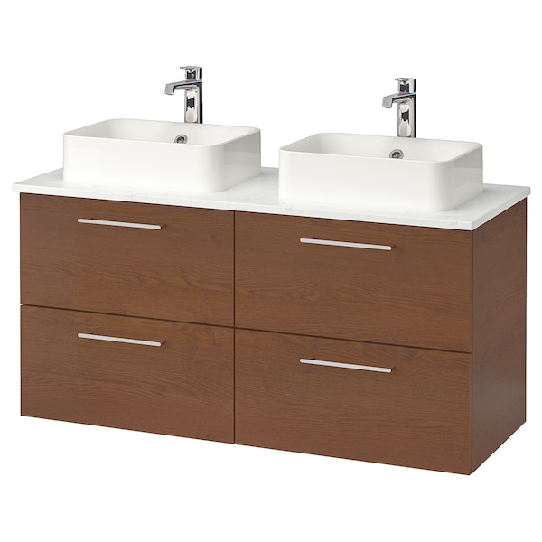 GODMORGON/TOLKEN / HÖRVIK Bathroom vanity, brown stained ash effect/marble effect Brogrund faucet, 48x19 1/4x28 3/8 ""