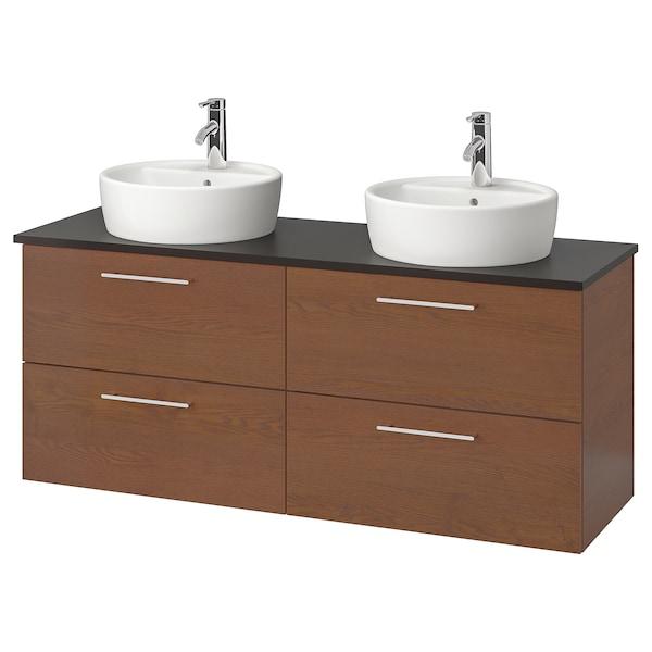 "GODMORGON/TOLKEN / TÖRNVIKEN Bathroom vanity, brown stained ash effect/anthracite Dalskär faucet, 55 7/8x19 1/4x29 1/8 """