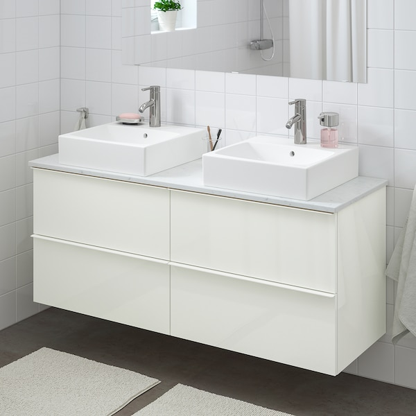 "GODMORGON/TOLKEN / TÖRNVIKEN Bathroom vanity, high gloss white/marble effect Dalskär faucet, 55 7/8x19 1/4x28 3/8 """