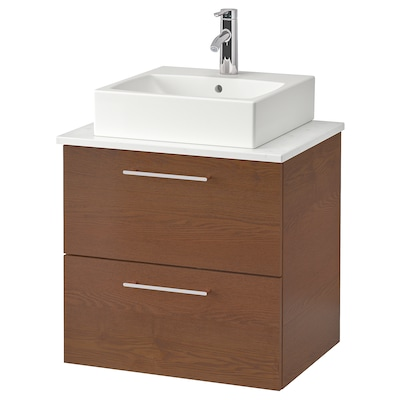 """GODMORGON/TOLKEN / TÖRNVIKEN cabinet with 17 3/4x17 3/4"""" sink brown stained ash effect/marble effect Dalskär faucet 24 3/8 """" 23 5/8 """" 19 1/4 """" 28 3/8 """""""