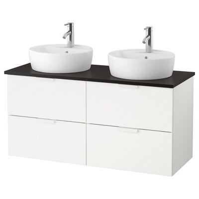 "GODMORGON/TOLKEN / TÖRNVIKEN bathroom vanity white/anthracite Dalskär faucet 48 "" 47 1/4 "" 19 1/4 "" 29 1/8 """