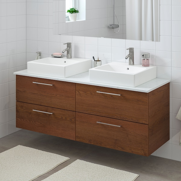 "GODMORGON/TOLKEN / TÖRNVIKEN bathroom vanity brown stained ash effect/marble effect Dalskär faucet 55 7/8 "" 55 1/8 "" 19 1/4 "" 28 3/8 """