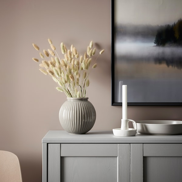 "GODTAGBAR Candlestick, ceramic white, 3 """