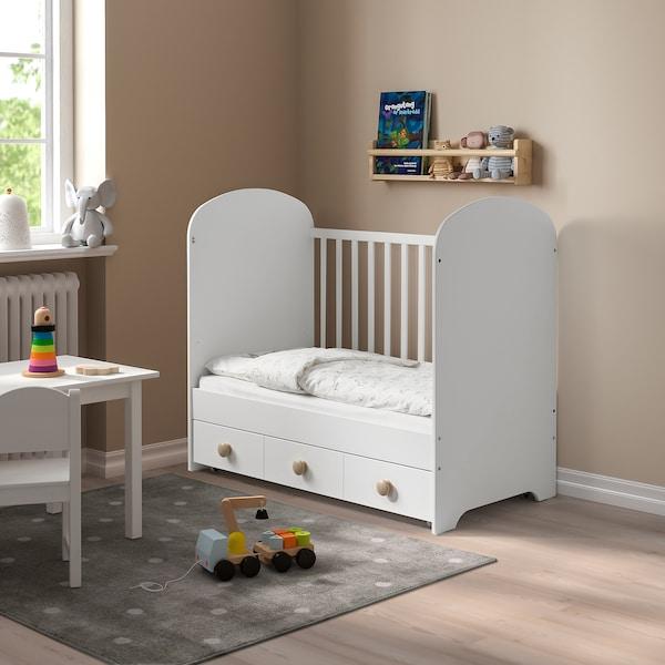 """GONATT Crib with drawer, white, 27 1/2x52 """""""