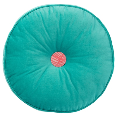 GRACIÖS Cushion, velvet/turquoise, 14 ""