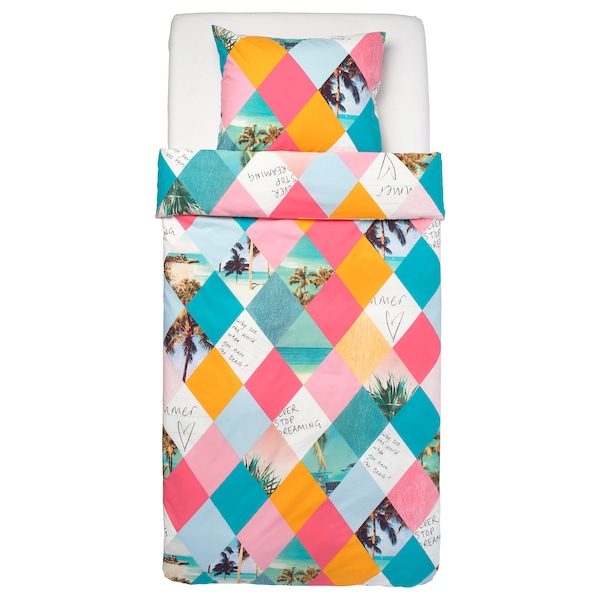 GRACIÖS Duvet cover and pillowcase(s), harlequin pattern, Twin