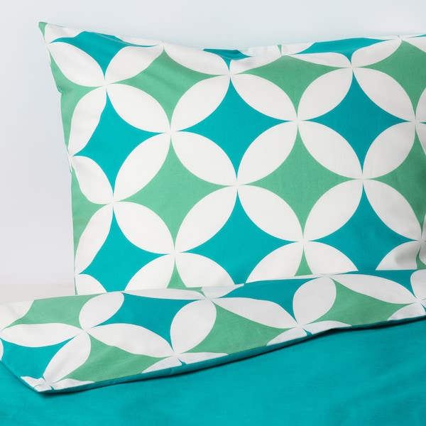 GRACIÖS Duvet cover and pillowcase(s), tile pattern/turquoise, Twin