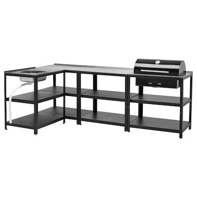 """GRILLSKÄR Kitchen sink ut/chrcl bbq, outdoor, stainless steel, 101 5/8x57 7/8 """""""