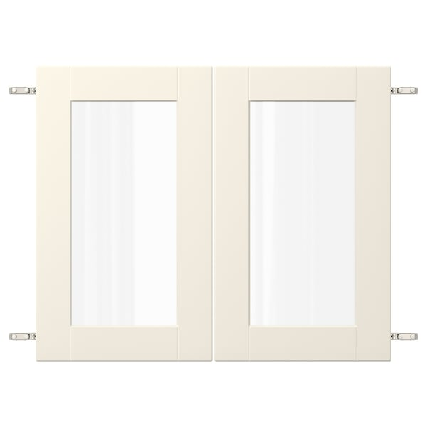 """GRIMSLÖV Pair of glass doors with hinges, off-white, 36x30 """""""