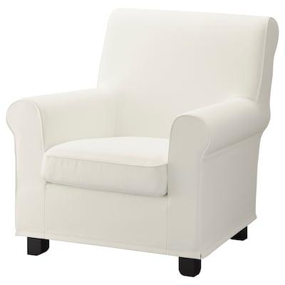 """GRÖNLID armchair Inseros white 34 1/4 """" 33 1/8 """" 35 3/8 """" 3 7/8 """" 23 5/8 """" 17 3/4 """" 20 7/8 """" 17 3/4 """""""