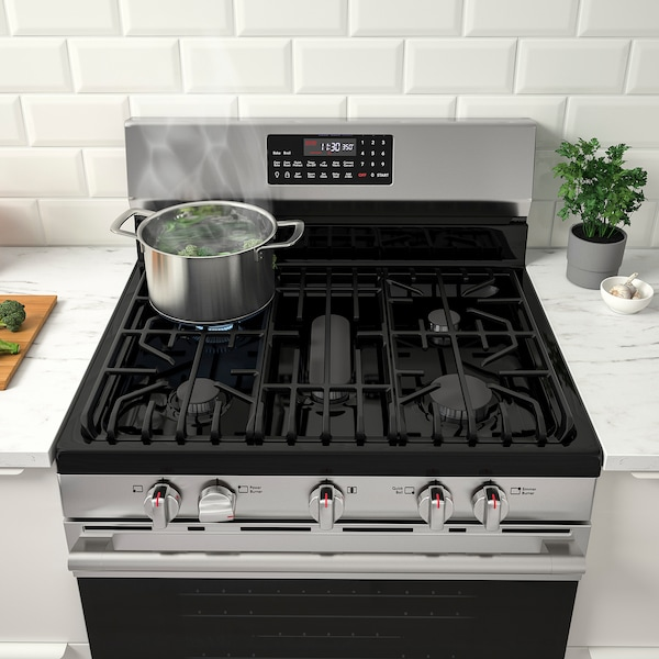 GRUNDLÄGGA Range with gas cooktop, Stainless steel