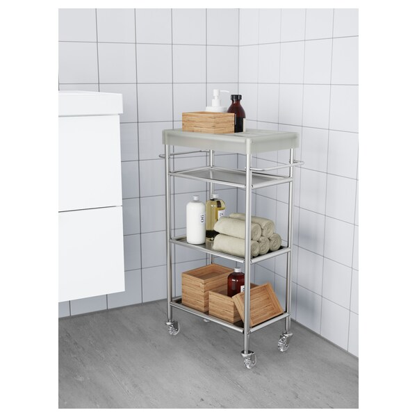 """GRUNDTAL Cart, stainless steel, 18 7/8x9 1/2x30 3/8 """""""